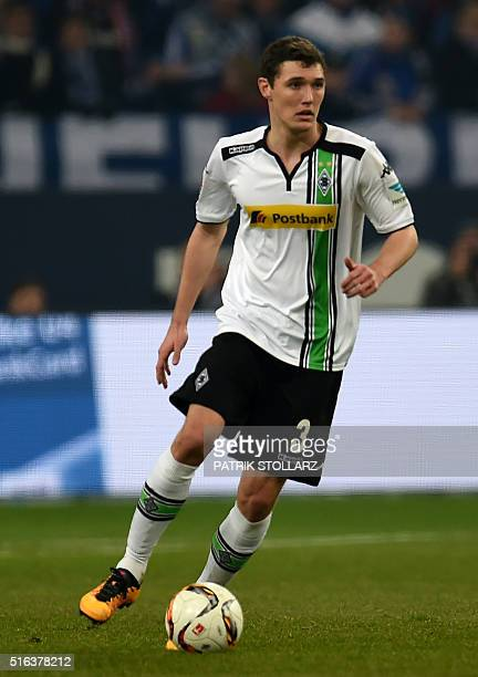 Moenchengladbach's Danish defender Andreas Christensen plays the ball during the German first division Bundesliga football match FC Schalke 04 v...