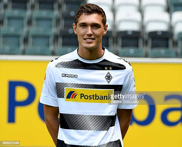 Moenchengladbach's Danish defender Andreas Christensen poses during the team presentation of Borussia Moenchengladbach on August 1 2016 in...