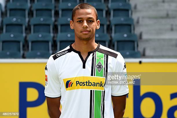 Moenchengladbach's Djibril Sow poses during the team presentation of the German first division Bundesliga team Borussia Moenchengladbach at the...
