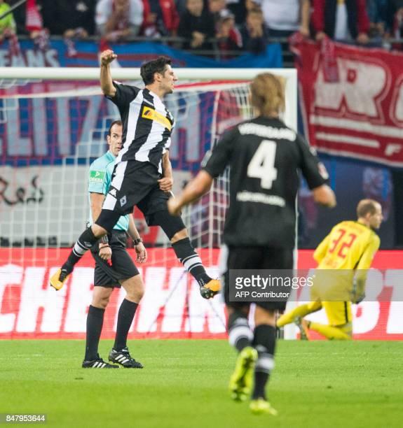 Moenchengladbach's German midfielder Lars Stindl celebrates scoring during the German first division Bundesliga football match RB Leipzig v Borussia...