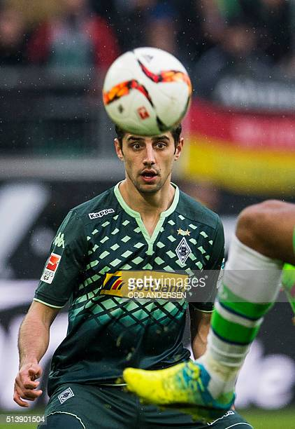 Moenchengladbach's midfielder Lars Stindl eyes the ball during the German first division Bundesliga football match of VfL Wolfsburg v Borussia...