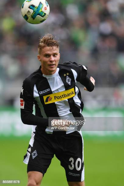 Moenchengladbach's Swiss defender Nico Elvedi follows the ball during the German first division Bundesliga football match between Borussia...