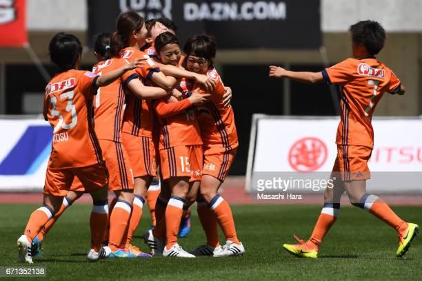 Moeno Sakaguchi of Albirex Nigata celebrates the first goal during the Nadeshiko League match between Albirex Niigata Ladies and INAC Kobe Leonessa...