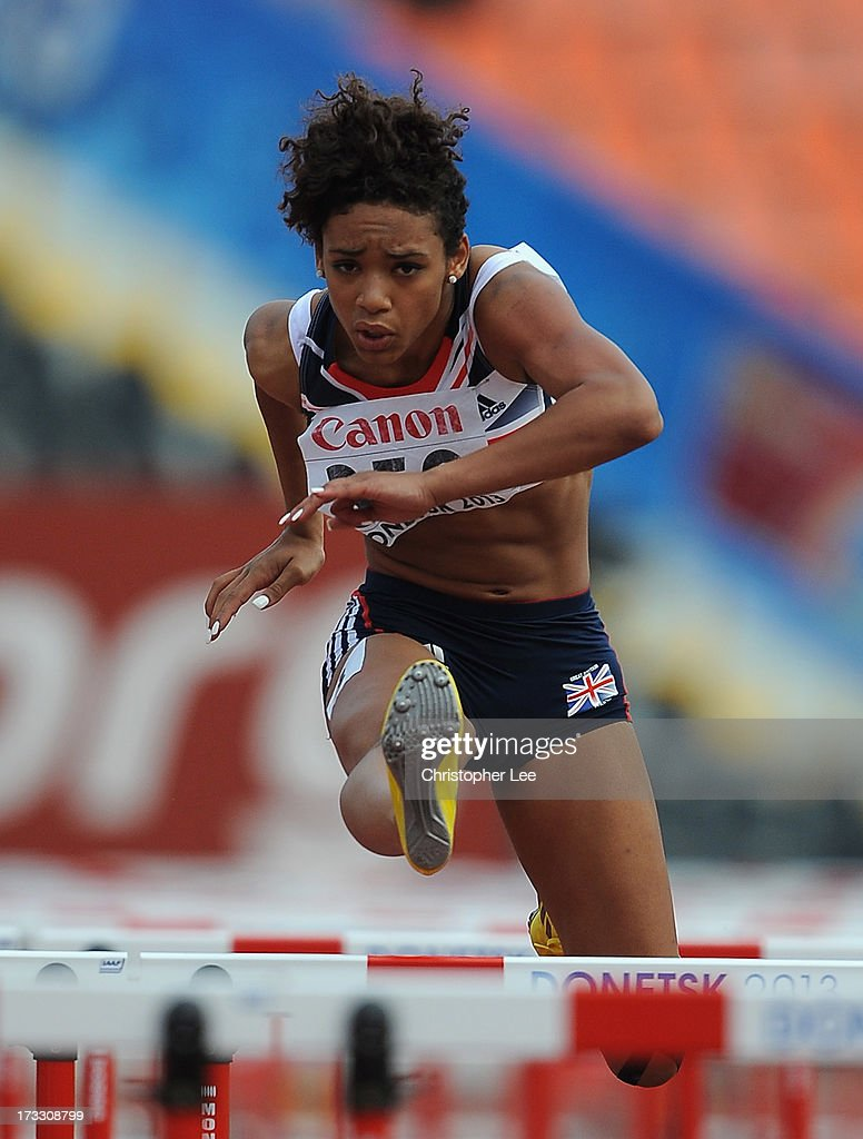 Moesha Howard of Great Britain in the Girls 110m Hurdles Semi Final during Day 2 of the IAAF World Youth Championships at the RSC Olimpiyskiy Stadium on July 11, 2013 in Donetsk, Ukraine.