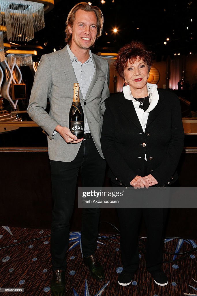 Moet & Chandon USA Vice President Ludovic du Plessis (L) and Hollywood Foreign Press Association (HFPA) President Dr. Aida Takla-OÕReilly attend the 70th Annual Golden Globe Awards preview day at The Beverly Hilton Hotel on January 11, 2013 in Beverly Hills, California.