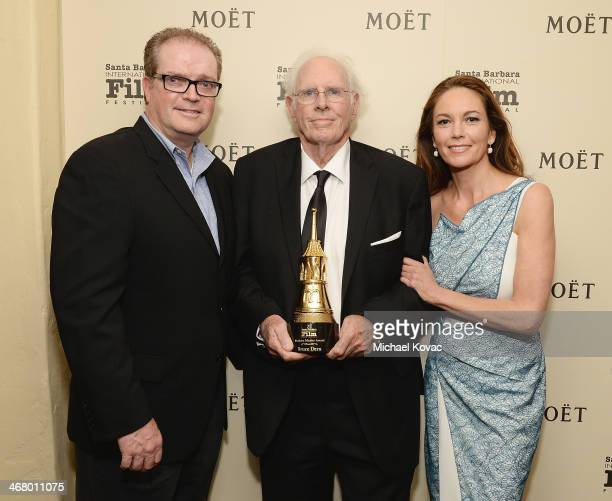 Moet's Tex McCarthy honoree Bruce Dern and actress Diane Lane visit The Moet Chandon Lounge at The Santa Barbara International Film Festival at the...