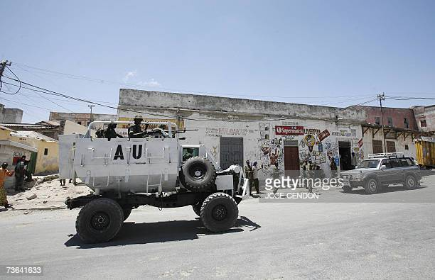 Ugandan African Union peacekeeping forces patrol on a street 20 March 2007 in Mogadishu African Union peacekeepers reinforced security around the...