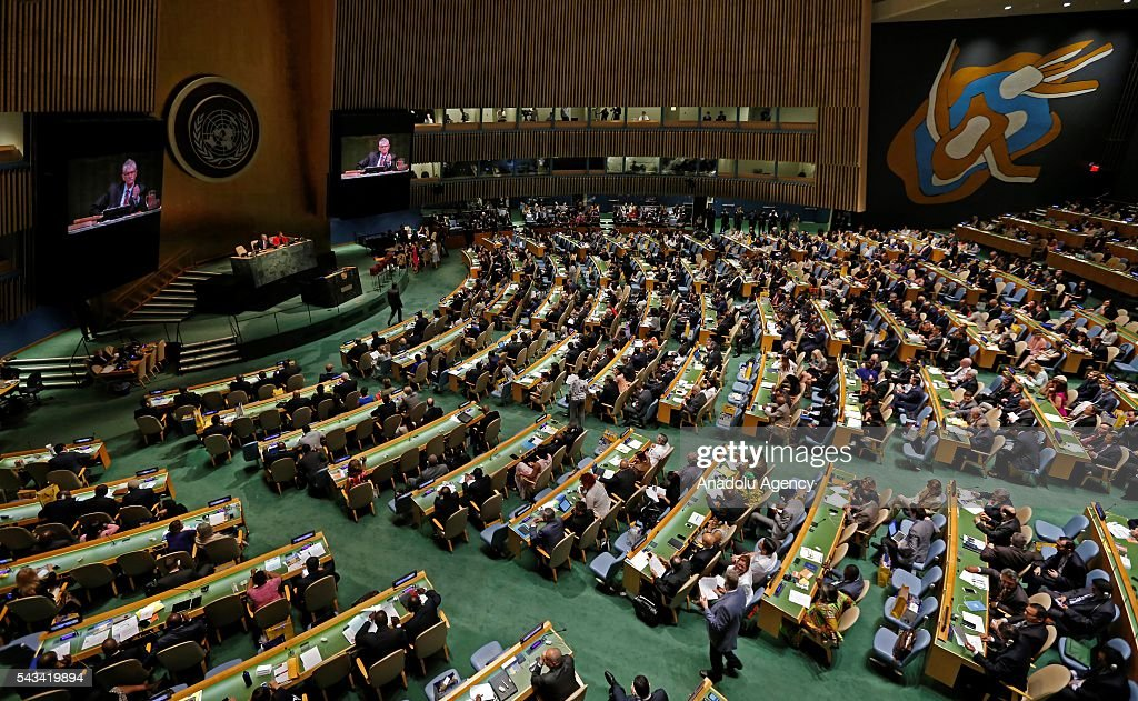 Mogens Lykketoft, President of the UN General Assembly chairs a session, held for voting on five non-permanent seats on the Security Council which will be elected to two-year terms on the Council at UN Headquarters in New York, United States on June 28, 2016.