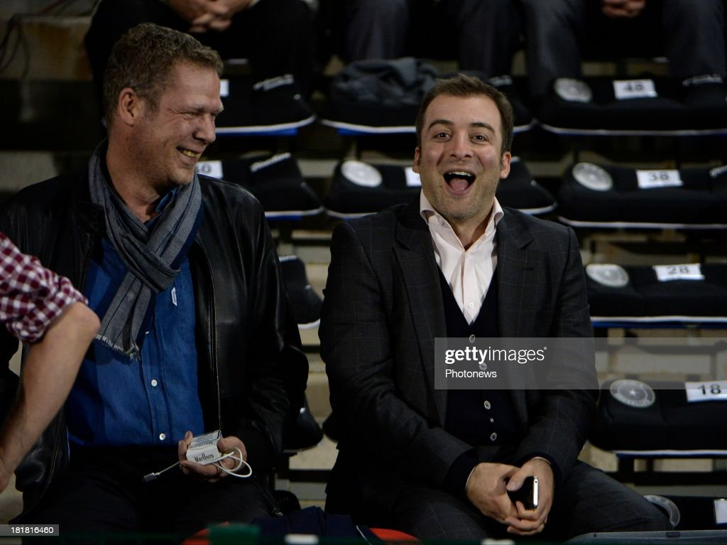 Mogi Bayat and Denis Laurent pictured during the Cofidis Cup match between White Star and Standard of Liege on september 25 , 2013 in Woluwe, Belgium.