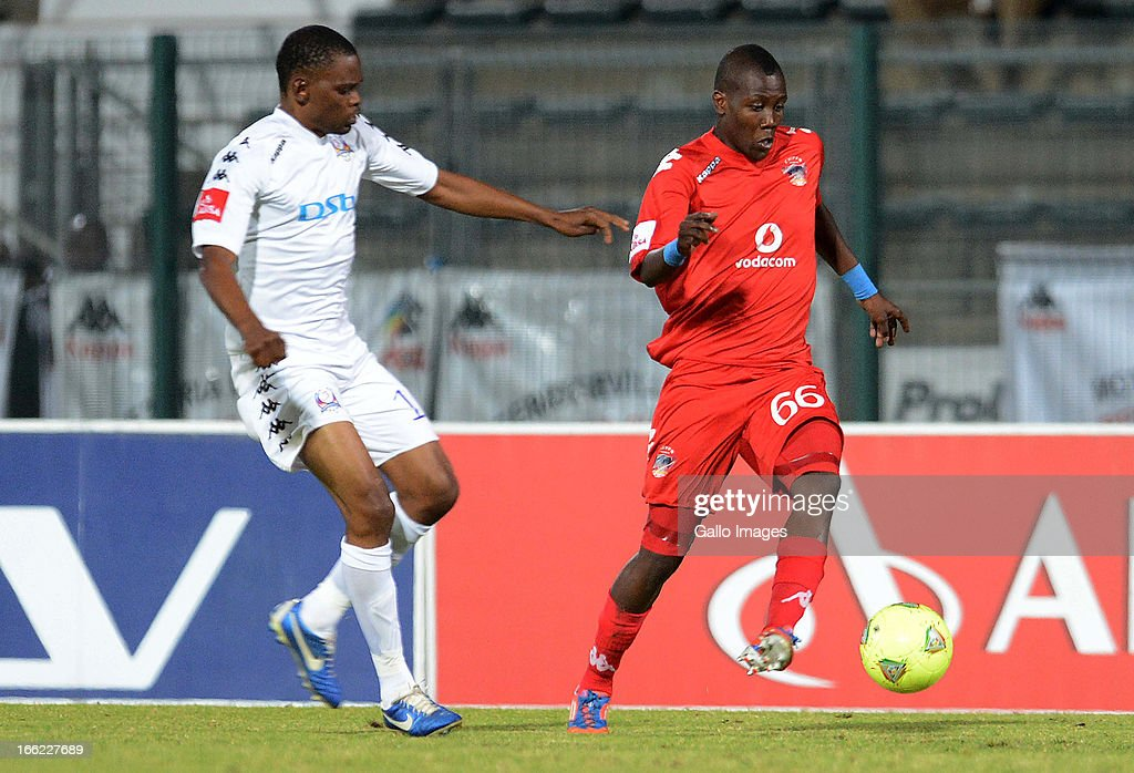 Mogogi Gabonamong and Wolff Keamogetse during the Absa Premiership match between SuperSport United and Chippa United from Lucas Moripe Stadium on April 10, 2013 in Pretoria, South Africa.