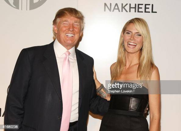 Mogul Donald Trump and model Heidi Klum attend the launch of Trump International Hotel and Tower Dubai on June 23 2008 at the Park Avenue Plaza in...