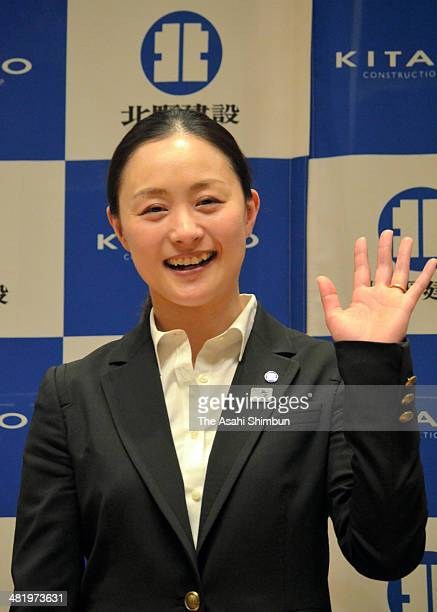Mogul skier Aiko Uemura poses for photographs during a press conference on her retirement at Kitano Construction Corp on April 1 2014 in Nagano Japan
