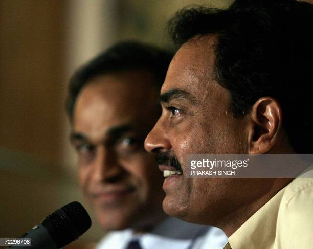 Board of Control for Cricket in India newly elected chairman of selectors Dilip Vengsarkar addresses a press conference as BCCI Secretary Niranjan...