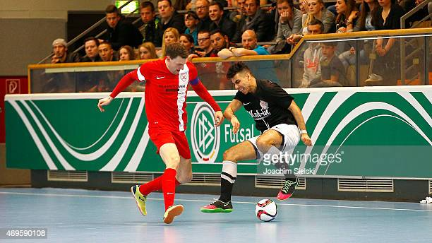 Mohamad Labiadh of Hamburg challenges Nils Klems of Schwerte during the DFB Futsal Cup Final between Holzpfosten Schwerte and Hamburg Panthers at...