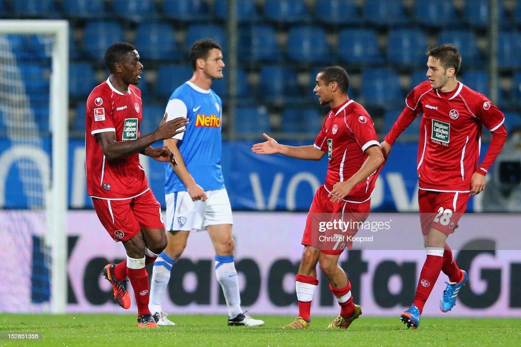 Mohamadou Idrissou of Kaiserslautern celebrates the second goal with Mimoun Azaouagh of Kaiserslautern and Konstantinos Fortounis of Kaiserslautern...
