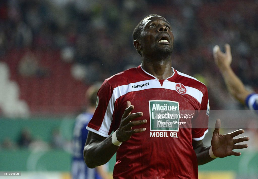 Mohamadou Idrissou of Kaiserslautern gestures during the DFB Cup 2nd round match between 1.FC Kaiserslautern and Hertha BSC Berlin at Fritz-Walter-Stadion on September 25, 2013 in Kaiserslautern, Germany.