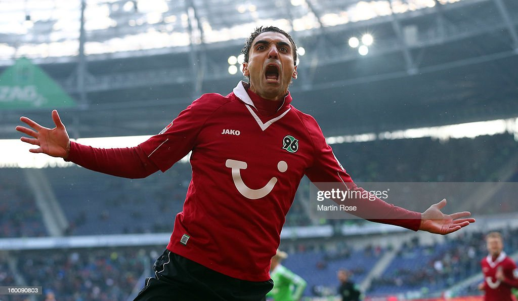 Mohamed Abdellaoue of Hannover celebrates after he scores his team's opening goal during the Bundesliga match between Hannover 96 and VfL Wolfsburg at AWD Arena on January 26, 2013 in Hannover, Germany.