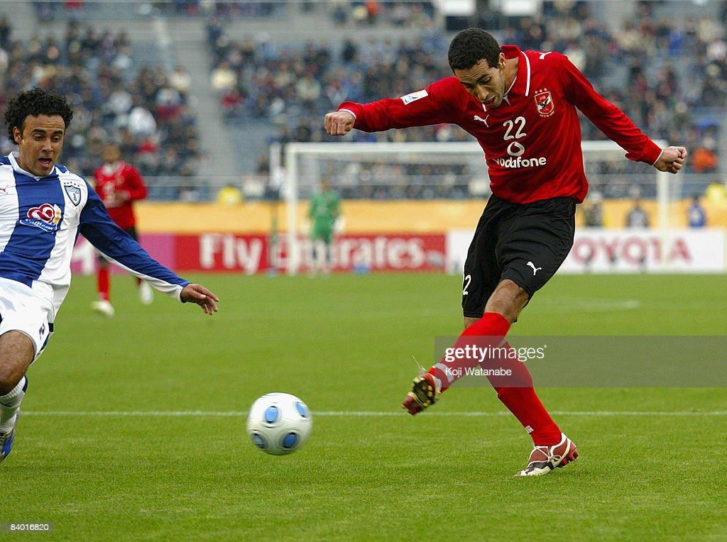 Mohamed Abou Tarik of Al Ahly takes a shot during the FIFA Club World Cup match beteween Al Ahly and Pachuca at the National Stadium on December 13...