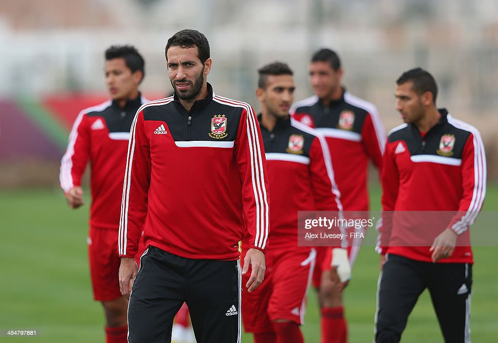 Mohamed Aboutreika of Al Ahly Sport Club looks on during a training session at the Agadir Stadium on December 10 2013 in Agadir Morocco