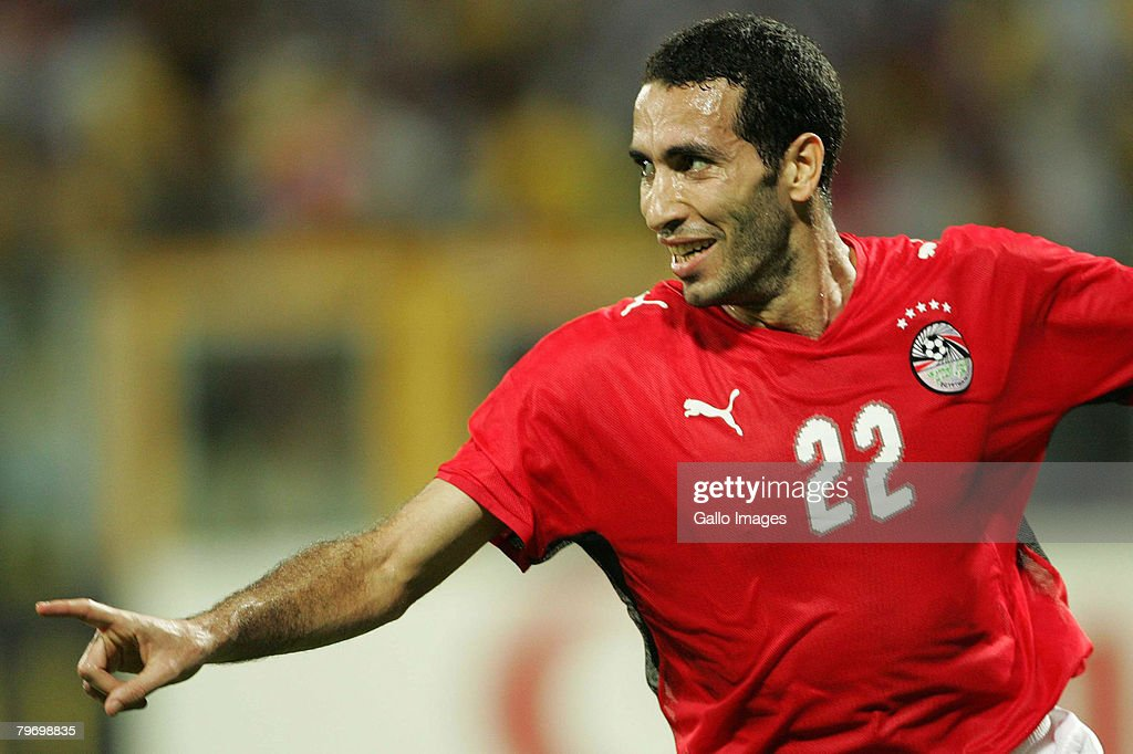 Mohamed Aboutriaka celebrates his goal during the AFCON Final match between Cameroon and Egypt at the Ohene Djan Stadium in Accra Ghana