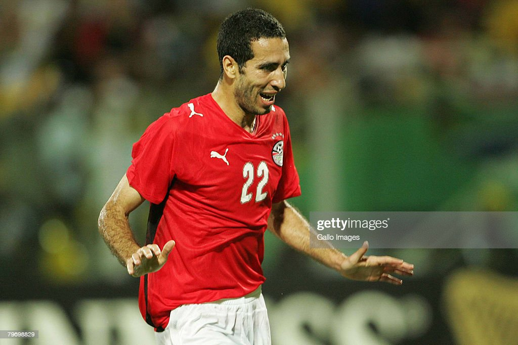 Mohamed Aboutriaka of Egypt celebrates his goal during the AFCON Final match between Cameroon and Egypt at the Ohene Djan Stadium in Accra Ghana