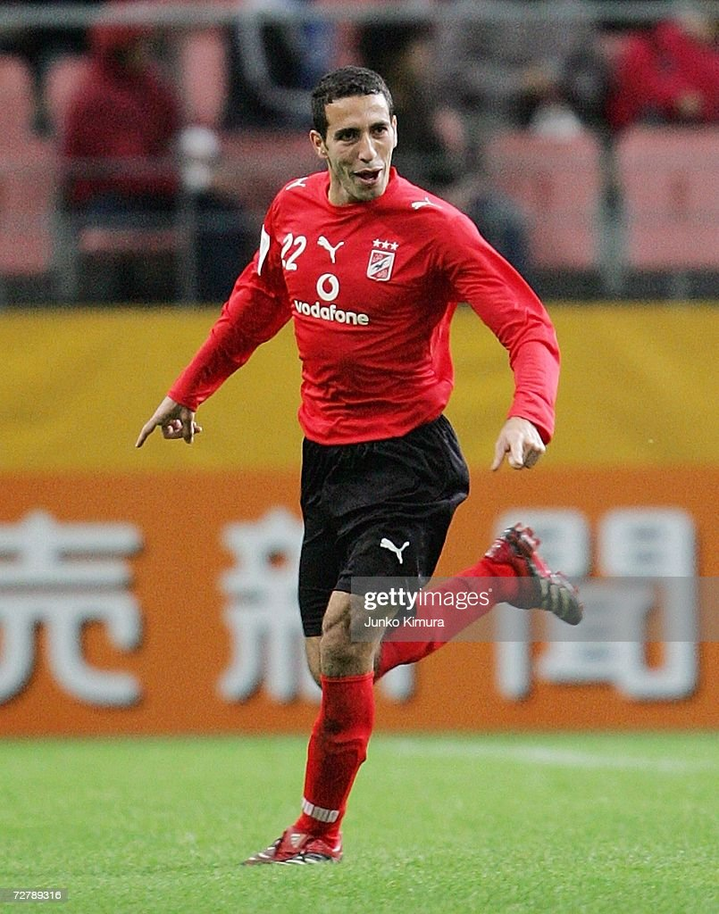 Mohamed Aboutrika of Ahly Sporting Club reacts during the FIFA Club World Cup Japan 2006 Quarterfinals between Auckland City FC and Ahly Sporting...