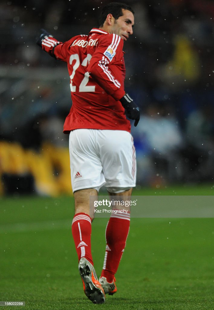 Mohamed Aboutrika of AlAhly SC celebrates his winning goal during the FIFA Club World Cup Quarter Final match between Sanfrecce Hiroshima and AlAhly...