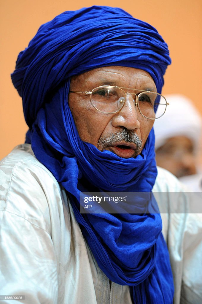 Mohamed Ag Akharib, a representative of armed Islamist group Ansar Dine, attends a meeting in Algiers on December 21, 2012. Ansar Dine and MNLA, armed rebel groups active in northern Mali, announced their commitment to suspending hostilities and negotiating with the Malian authorities to end the crisis.