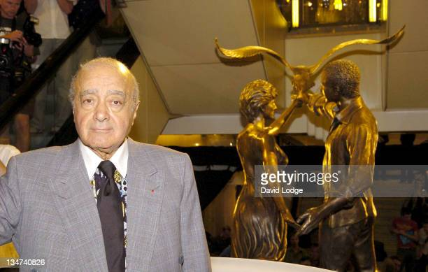Mohamed Al Fayed during Dodi Al Fayed and Diana Memorial Unveiled at Harrods at Harrods in London Great Britain