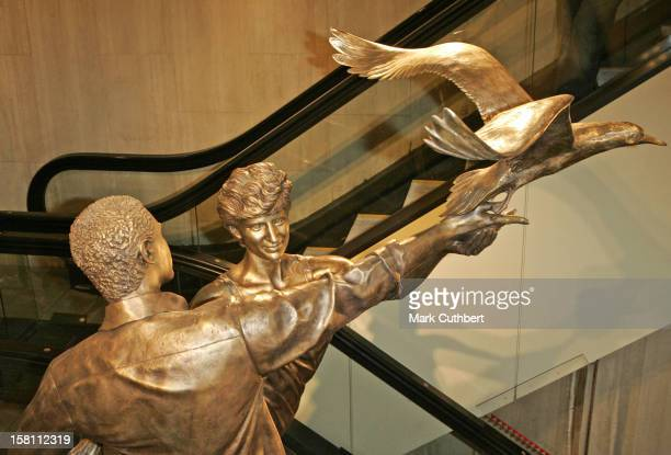 Mohamed Al Fayed Unveils A Statue Of Diana Princess Of Wales Dodi Al Fayed At The Harrods Store In London The 10Ft Bronze Memorial Is Entitled...