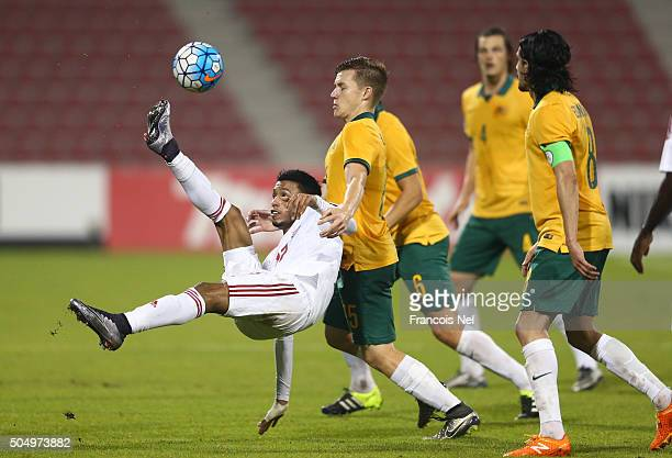 Mohamed Alakberi of the United Arab Emirates attempts an overhead kick during the AFC U23 Championship Group D match between Australia and the United...