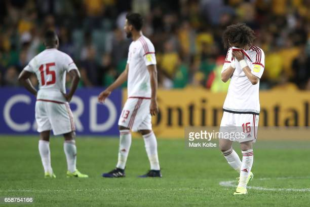 Mohamed Alraqi of the United Arab Emirates looks dejected after defeat during the 2018 FIFA World Cup Qualifier match between the Australian...