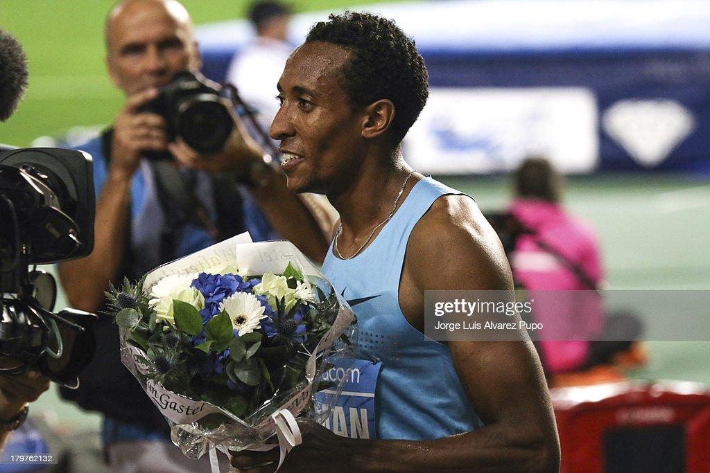 Mohamed Aman of Ethiopia celebrates after the Men's 800m final of the 2013 Belgacom Memorial Van Damme -IAAF Diamond League on September 6, 2013 in Brussels, Belgium.