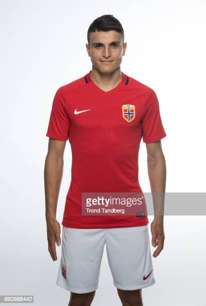Mohamed Amine Elyounoussi of Norway National Team during Photocall at Ullevaal Stadion on June 5 2017 in Oslo Norway