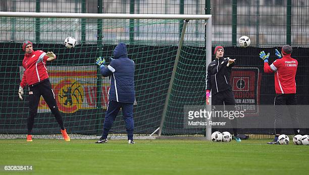 Mohamed Amsif goalkeeper Coach Dennis Rudel and Daniel Mesenhoeler of 1FC Union Berlin during the first training in 2017 of 1st FC Union Berlin on...