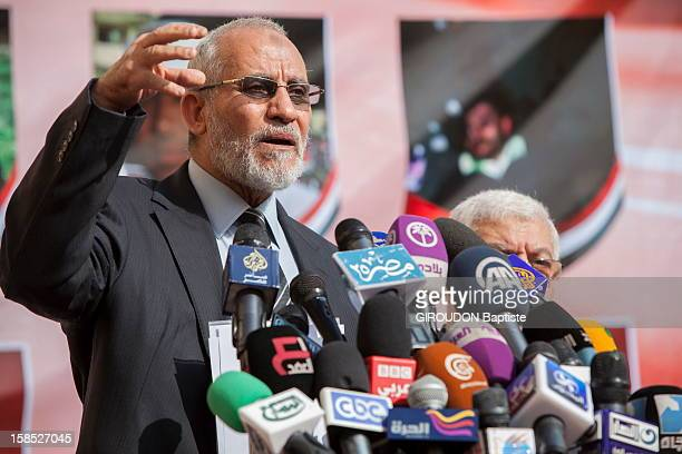 Mohamed Badia, Leader of the Muslim Brothers speaks at a press conference after the attack on their headquarters on December 7, 2012 in Cairo,Egypt.
