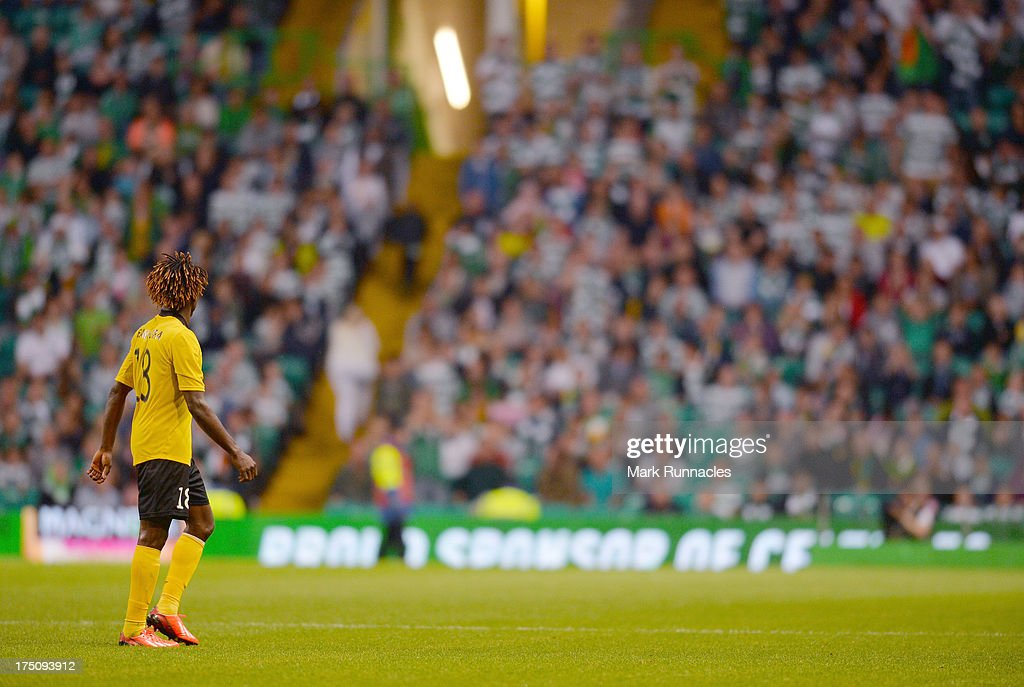 Mohamed Bangura of Elfsborg is substituted in the second half causing the celtic crowd to boo the on loan celtic striker during the UEFA Champions League Third Qualifying Round First Leg match between Celtic and Elfsborg at Celtic Park Stadium on July 31, 2013 in Glasgow, Scotland.