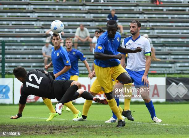 Mohamed Coly of Parma Calcio scores his first goal during the preseason friendly match between Parma Calcio and Dro on July 30 2017 in Pinzolo near...