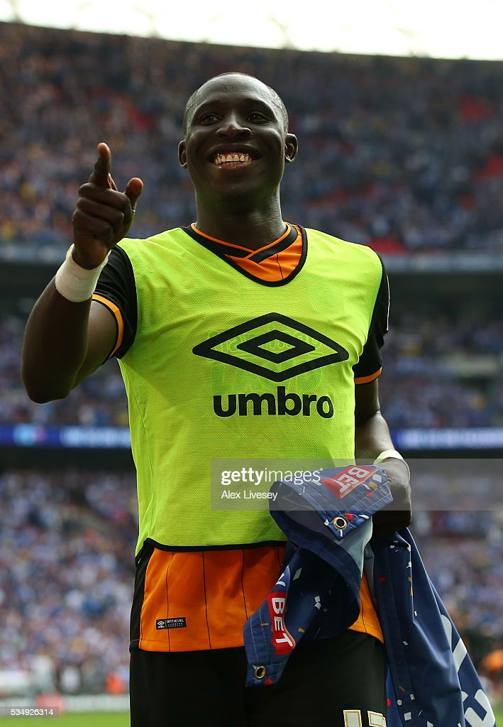 Mohamed Diame of Hull City celebrates after the Sky Bet Championship Play Off Final match between Hull City and Sheffield Wednesday at Wembley Stadium on May 28, 2016 in London, England.