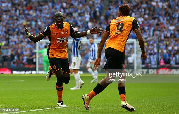 Mohamed Diame of Hull City celebrates scoring his team's first goal with his team mate Abel Hernandez during Sky Bet Championship Play Off Final...