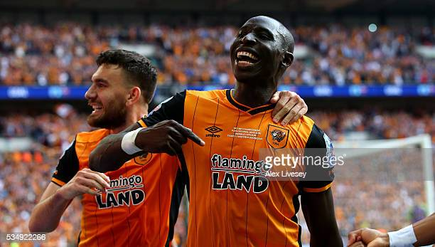 Mohamed Diame of Hull City celebrates scoring the first goal during Sky Bet Championship Play Off Final match between Hull City and Sheffield...