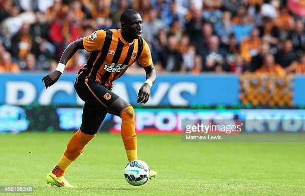 Mohamed Diame of Hull City in action during the Barclays Premier League match between Hull City and Manchester City at KC Stadium on September 27...