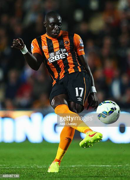 Mohamed Diame of Hull City scores their second goal during Barclays Premier League match between Hull City and West Ham United at KC Stadium on...