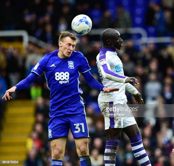 Mohamed Diame of Newcastle United and Krystian Bielik of Birmingham City contest the ball during the Sky Bet Championship match between Birmingham...