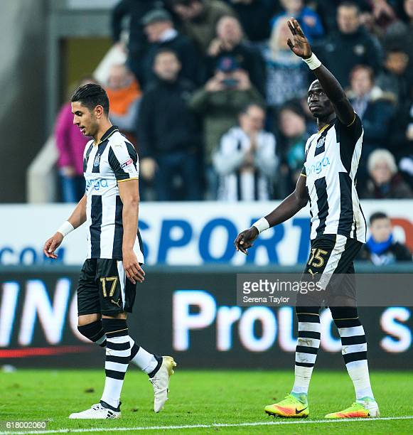 Mohamed Diame of Newcastle United celebrates with teammates after scoring Newcastle's fifth goal during the EFL Cup Fourth Round Match between...