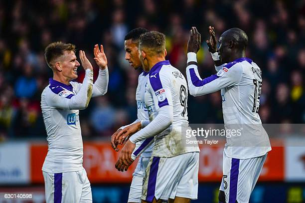Mohamed Diame of Newcastle United celebrates with teammates seen LR Matt Ritchie Isaac Hayden and Dwight Gayle after scoring Newcastle's second goal...