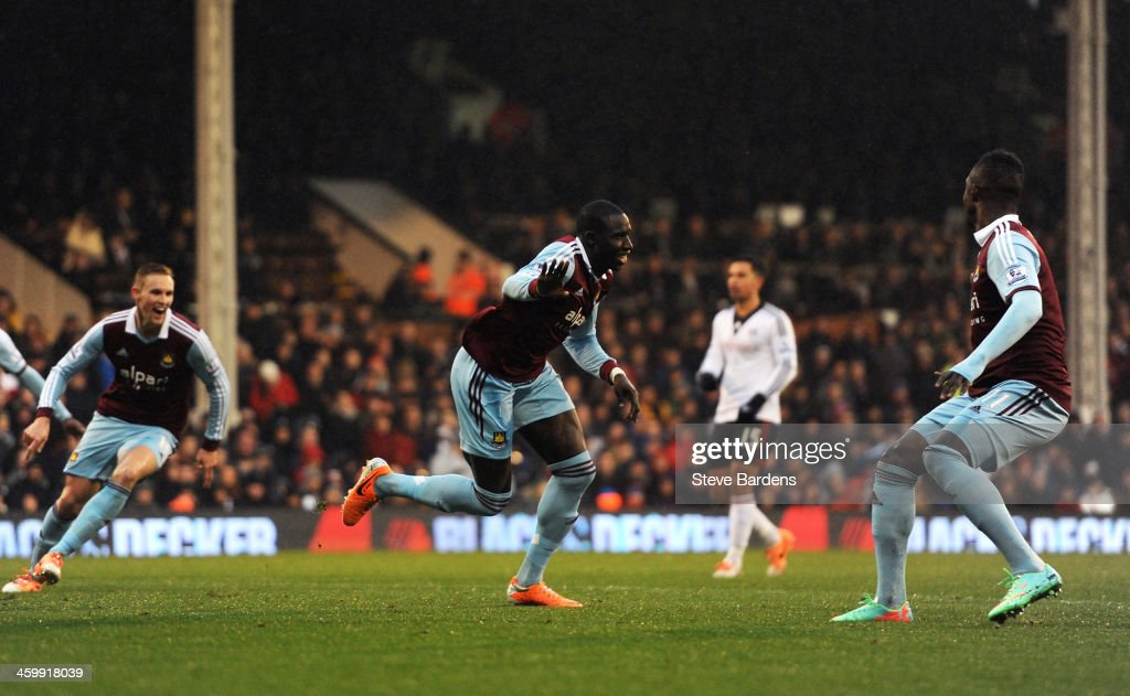 Mohamed Diame of West Ham celebrates after scoring the opening goal during the Barclays Premier League match between Fulham and West Ham United at Craven Cottage on January 1, 2014 in London, England.