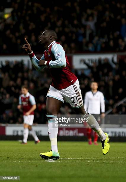 Mohamed Diame of West Ham United celebrates the first goal during the Barclays Premier League match between West Ham United and Fulham at Boleyn...