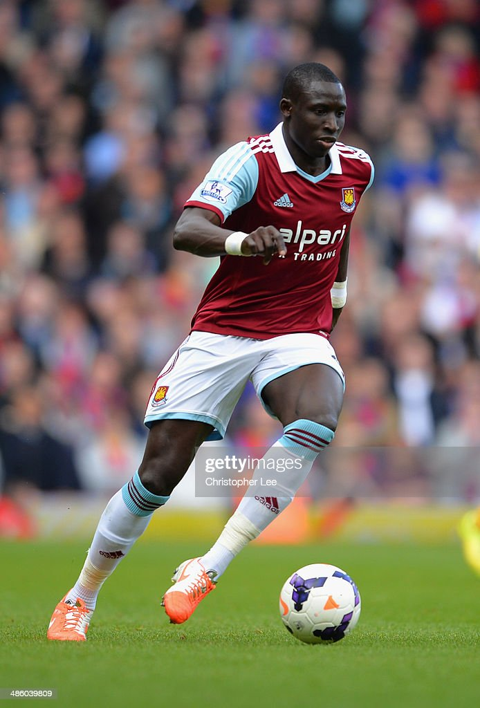 Mohamed Diame of West Ham United during the Barclays Premier League match between West Ham United and Crystal Palace at Boleyn Ground on April 19, 2014 in London, England.