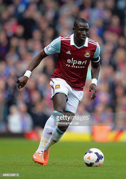 Mohamed Diame of West Ham United during the Barclays Premier League match between West Ham United and Crystal Palace at Boleyn Ground on April 19...